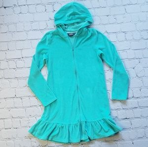 Land's End Terry Swim Hoodie Coverup Sz Med 10-12
